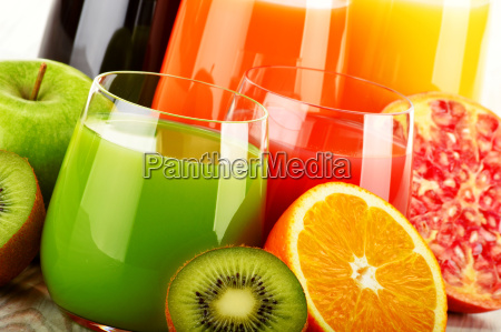 glasses of assorted fruit juice detox