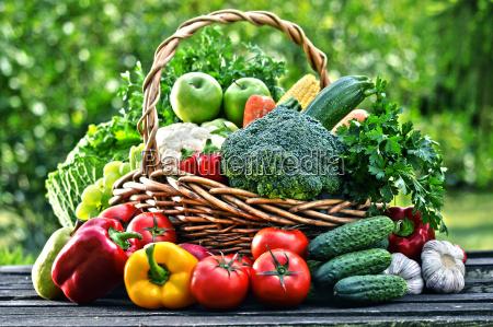 wicker basket with assorted raw organic