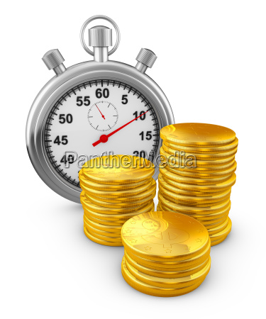 stopwatch and coins