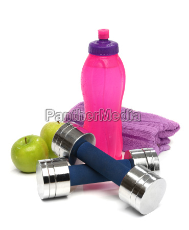 fitness concept with a bottle of