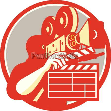 cameraman vintage film movie camera clapboard