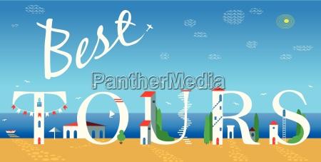 inscription best tours vector illustration