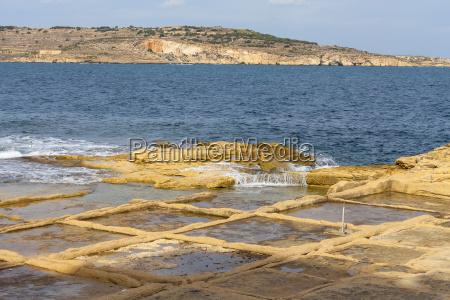 salt pans on mediterranean sea