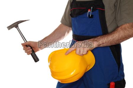 hammer and helmet