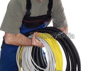 worker with electric lines