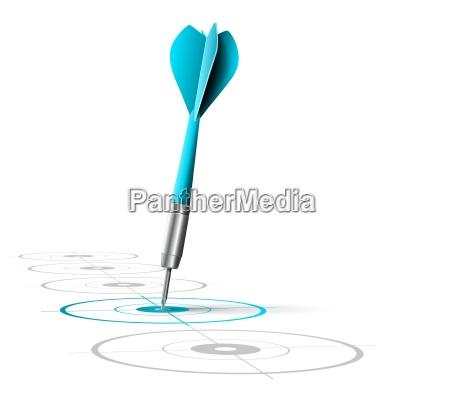 one blue dart hitting the center