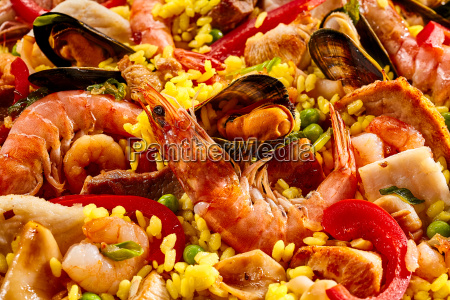 close up of delicious seafood paella