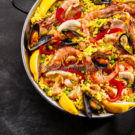 serving of gourmet seafood paella
