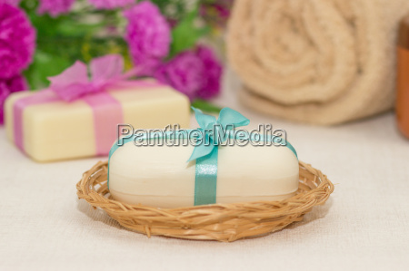 two pieces of soap with a