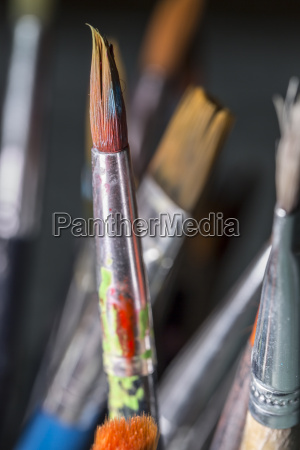 dirty paintbrush close up