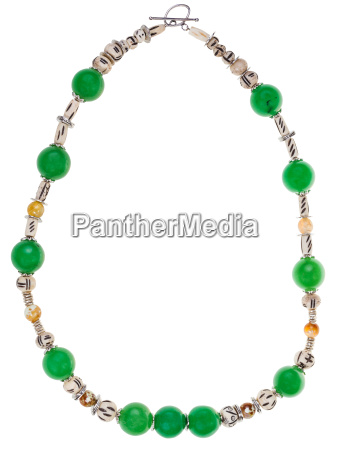 green necklace from natural gemstones isolated