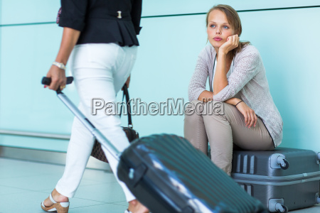 young female frustrated passenger at the