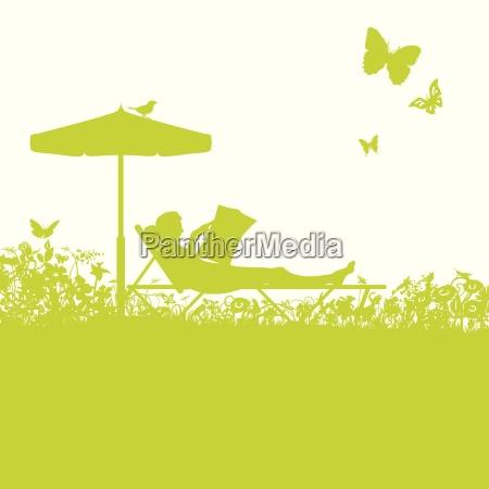 garden lounger in the garden and