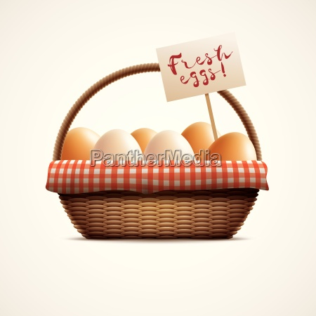 wicker basket and eggs