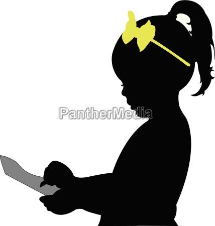 school childhood girl taking note silhouette