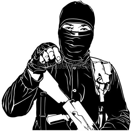 terrorist in black