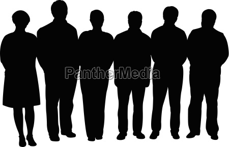 silhouettes of business people standing in