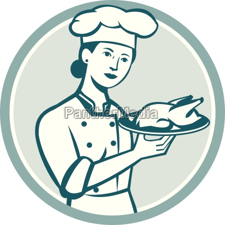 female chef serving chicken roast circle