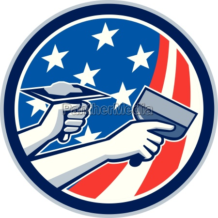 american drywall repair service flag circle