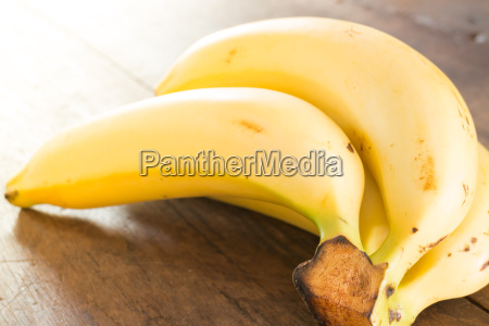 banana on brown wooden background