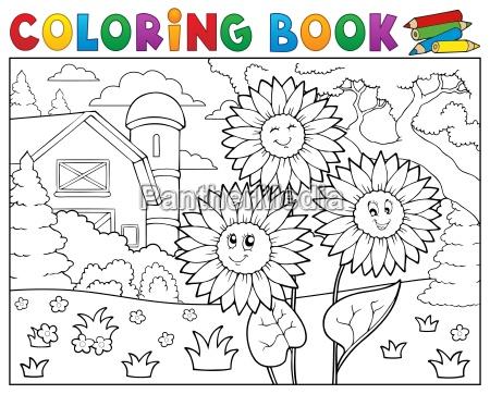 coloring book sunflowers near farm