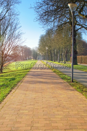 paved path beside a road and