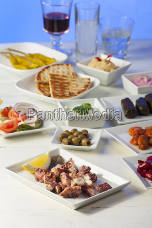 greek appetizers with wine