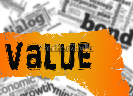 word cloud with value word on