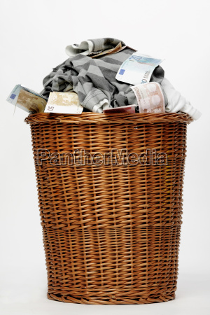 laundry basket with dirty laundry