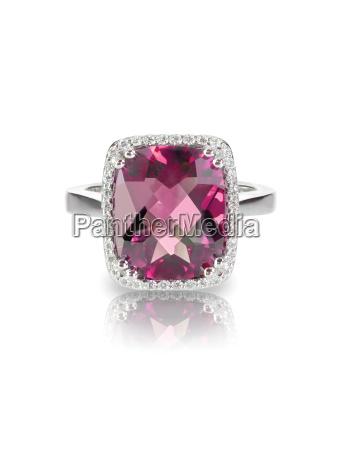 pink tourmaline cushion cut halo ring