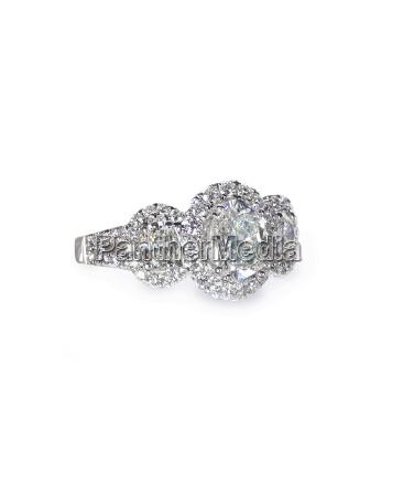 oval three stone halo diamond wedding