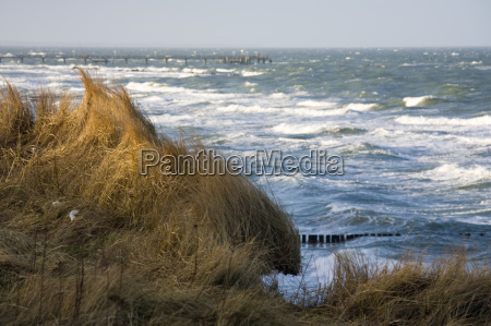 baltic sea in autumn with sun