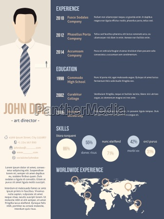 resume cv template with business man