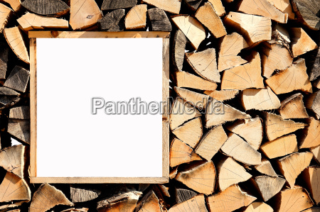 firewood wall with window for text