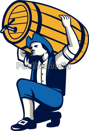 american patriot lifting beer keg isolated
