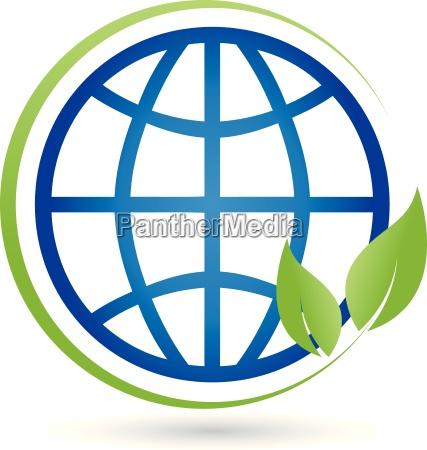 earth and leaves globe globe logo