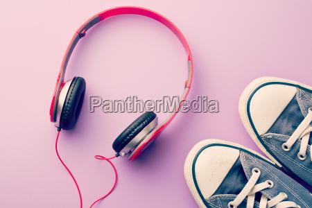 headphones and sneakers