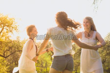 girl dancing in the cherry garden