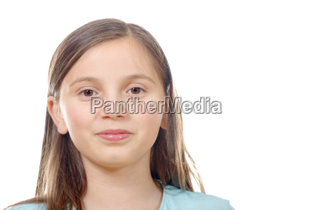 portrait of preteen girl isolated on