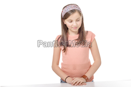 preteen girl isolated on a white