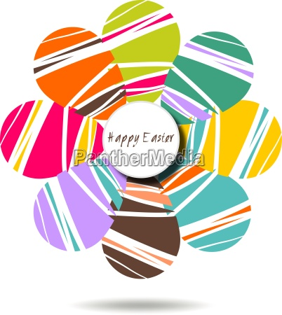 cheerful easter background with colorful decorated