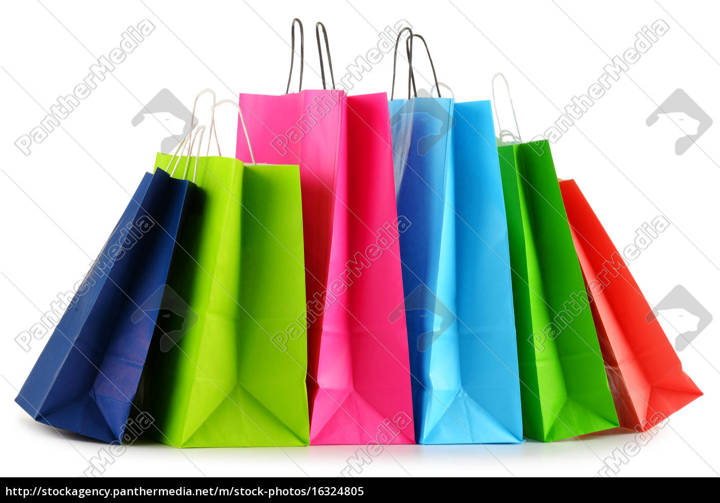 colorful, paper, shopping, bags, isolated, on - 16324805