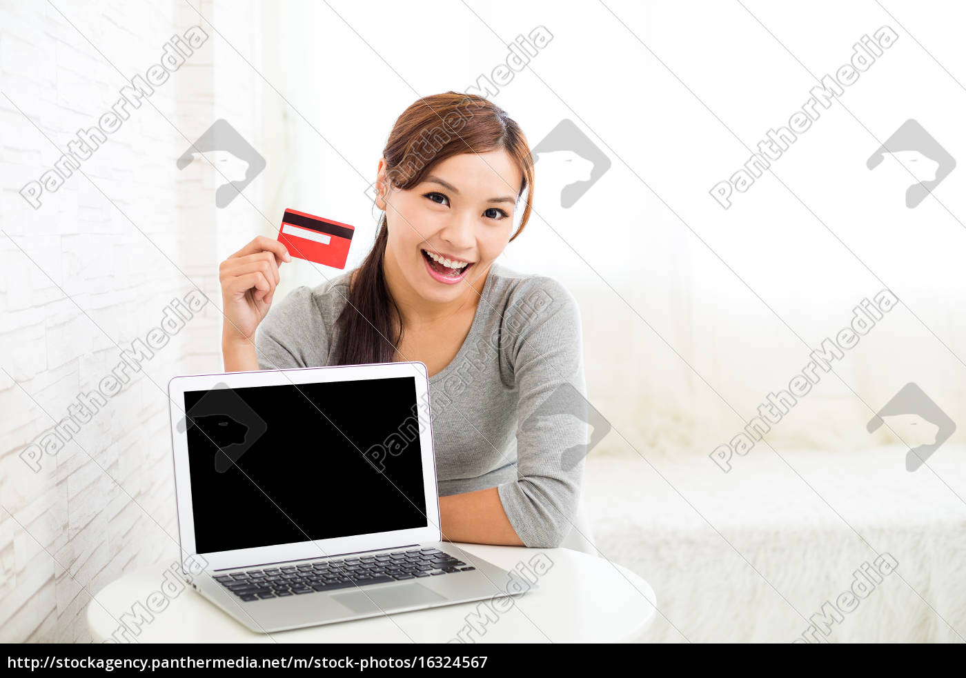 woman, holding, credit, card, for, online - 16324567
