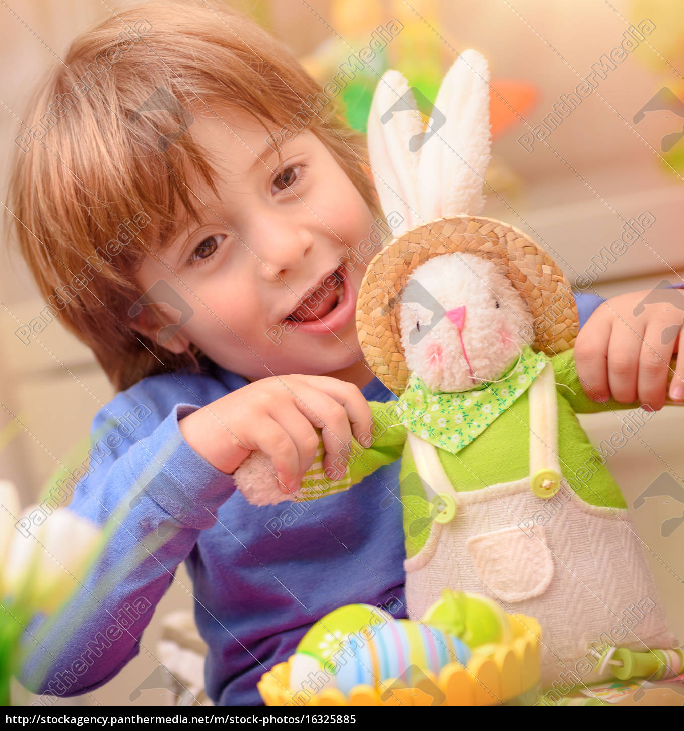 happy, boy, with, easter, bunny - 16325885