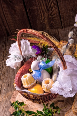 traditional, easter, basket, with, food - 16325519