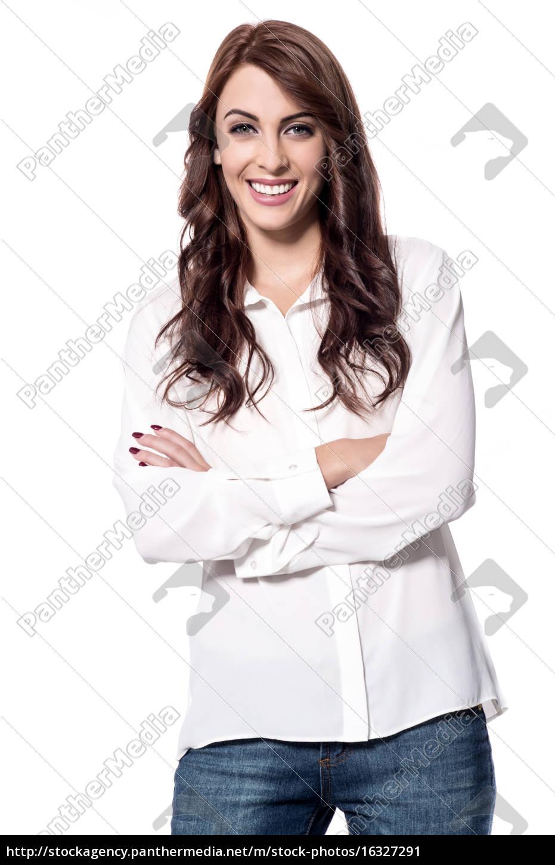 stylish, young, woman, posing, to, camera - 16327291