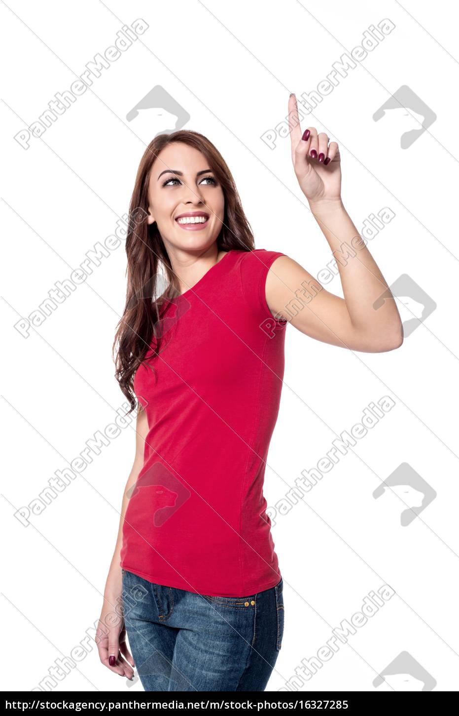 woman, pointing, upwards - 16327285