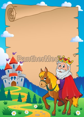 parchment with king on horse theme