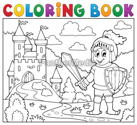 coloring, book, knight, near, castle - 16328525