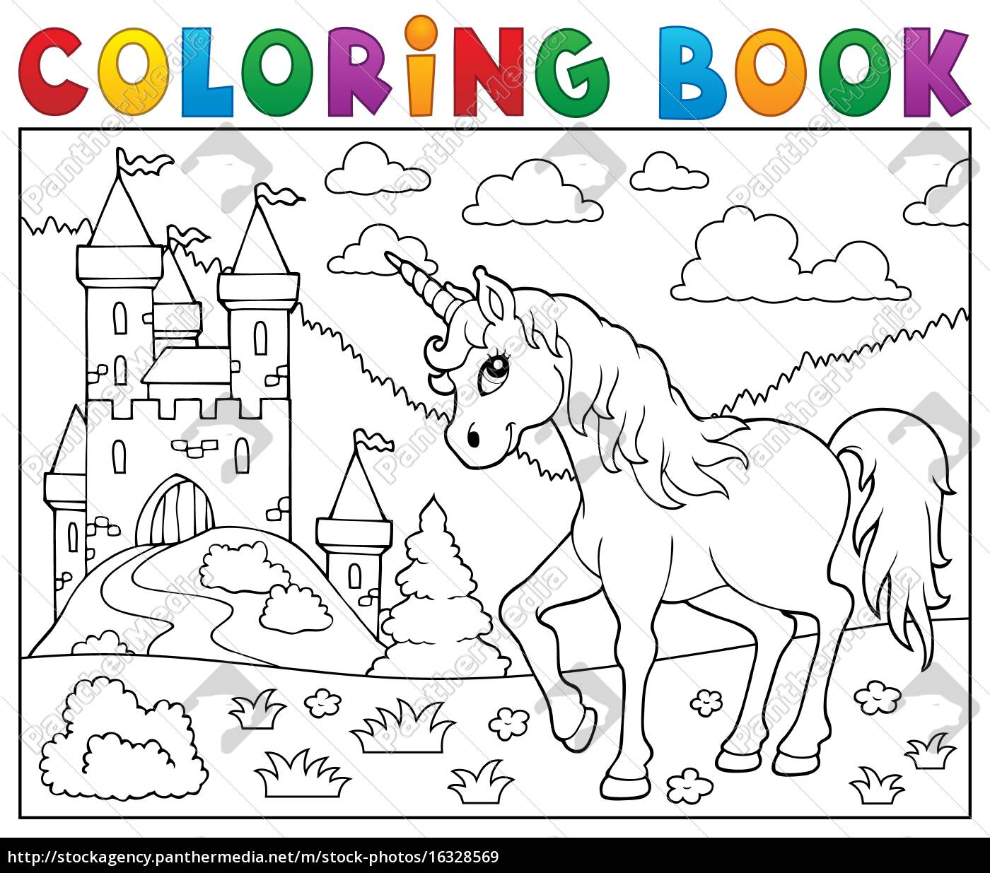 coloring, book, unicorn, near, castle - 16328569